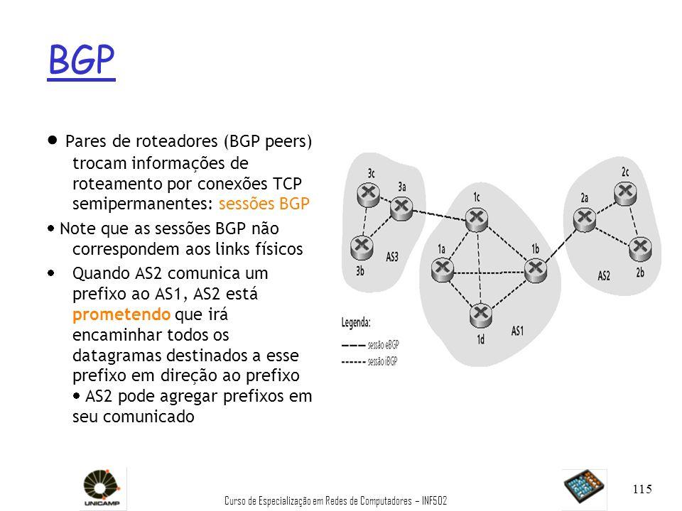 Curso de Especialização em Redes de Computadores – INF502 115 BGP Pares de roteadores (BGP peers) trocam informações de roteamento por conexões TCP se