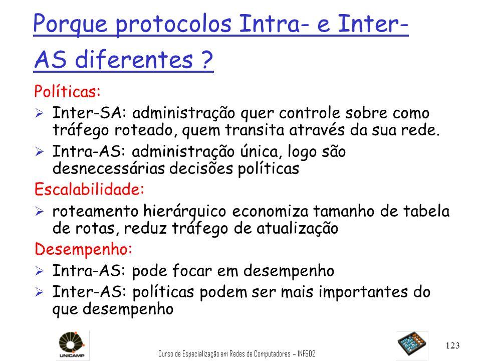 Curso de Especialização em Redes de Computadores – INF502 123 Porque protocolos Intra- e Inter- AS diferentes ? Políticas: Ø Inter-SA: administração q