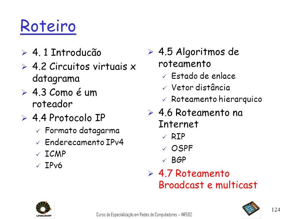 Curso de Especialização em Redes de Computadores – INF502 124 Roteiro Ø 4. 1 Introducão Ø 4.2 Circuitos virtuais x datagrama Ø 4.3 Como é um roteador
