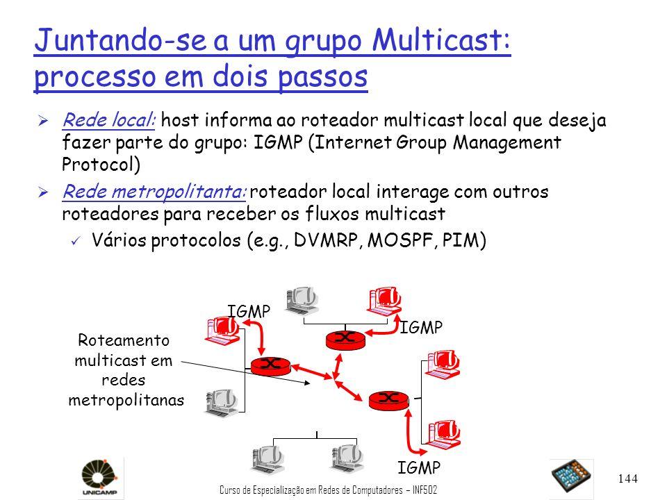 Curso de Especialização em Redes de Computadores – INF502 144 Juntando-se a um grupo Multicast: processo em dois passos Ø Rede local: host informa ao