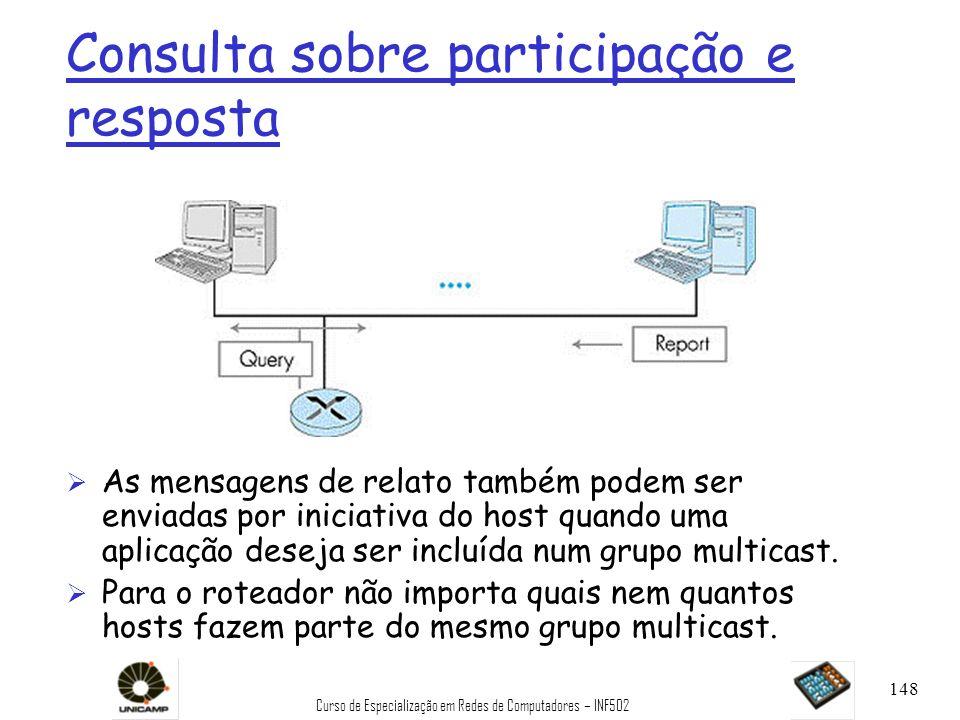 Curso de Especialização em Redes de Computadores – INF502 148 Consulta sobre participação e resposta Ø As mensagens de relato também podem ser enviada