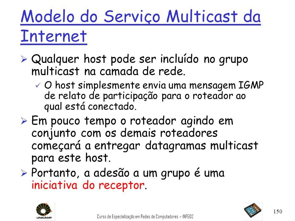 Curso de Especialização em Redes de Computadores – INF502 150 Modelo do Serviço Multicast da Internet Ø Qualquer host pode ser incluído no grupo multi