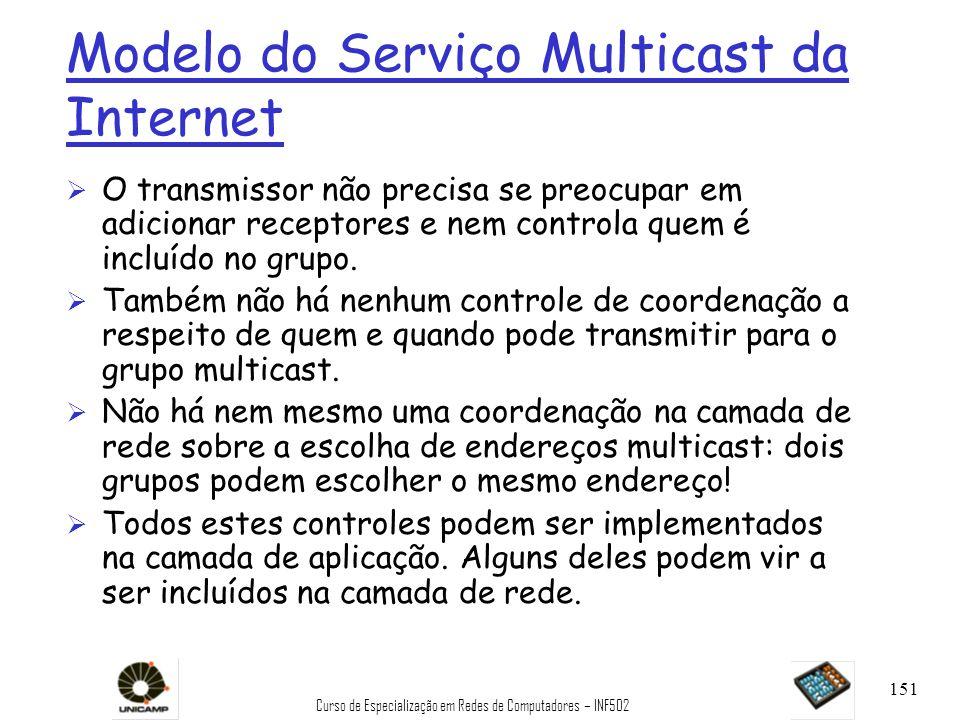 Curso de Especialização em Redes de Computadores – INF502 151 Modelo do Serviço Multicast da Internet Ø O transmissor não precisa se preocupar em adic