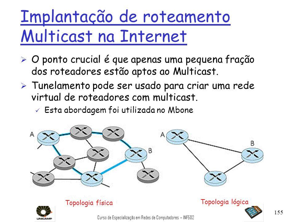 Curso de Especialização em Redes de Computadores – INF502 155 Implantação de roteamento Multicast na Internet Ø O ponto crucial é que apenas uma peque
