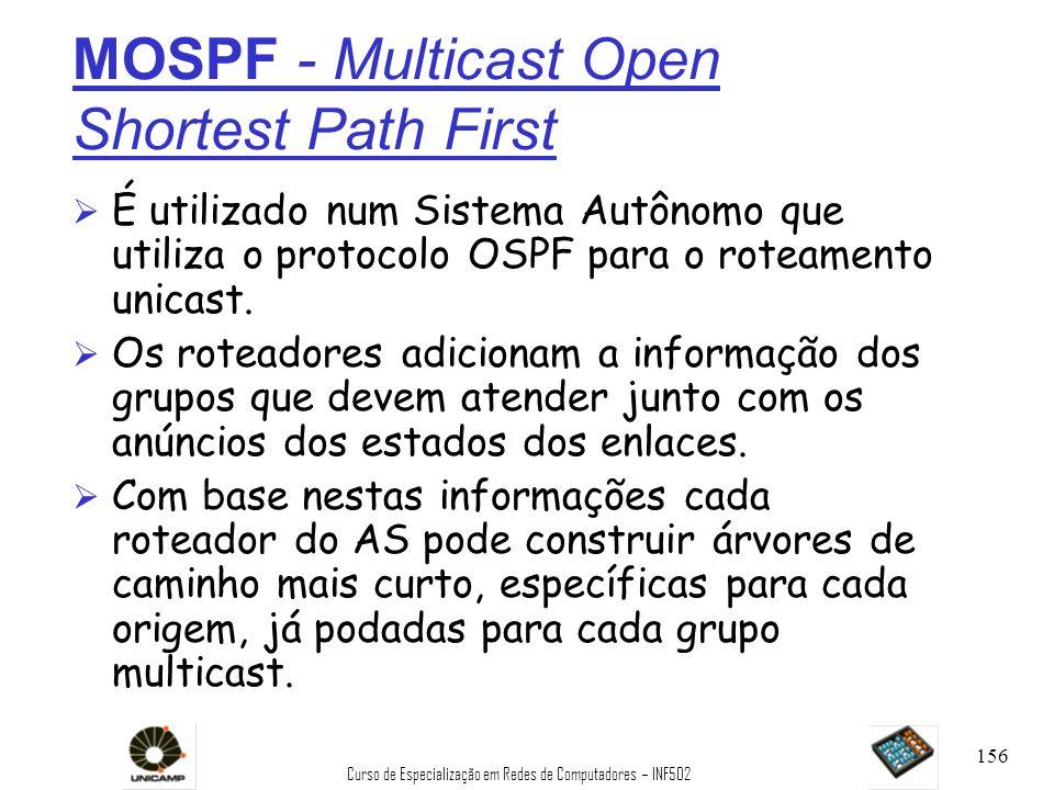 Curso de Especialização em Redes de Computadores – INF502 156 MOSPF - Multicast Open Shortest Path First Ø É utilizado num Sistema Autônomo que utiliz