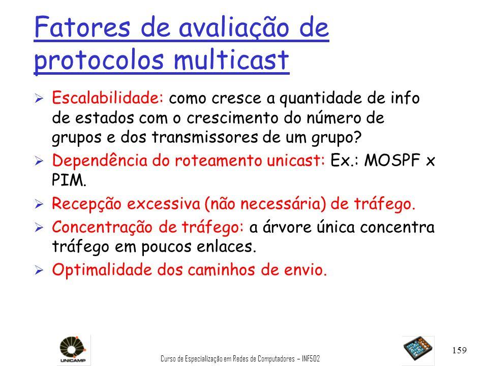 Curso de Especialização em Redes de Computadores – INF502 159 Fatores de avaliação de protocolos multicast Ø Escalabilidade: como cresce a quantidade