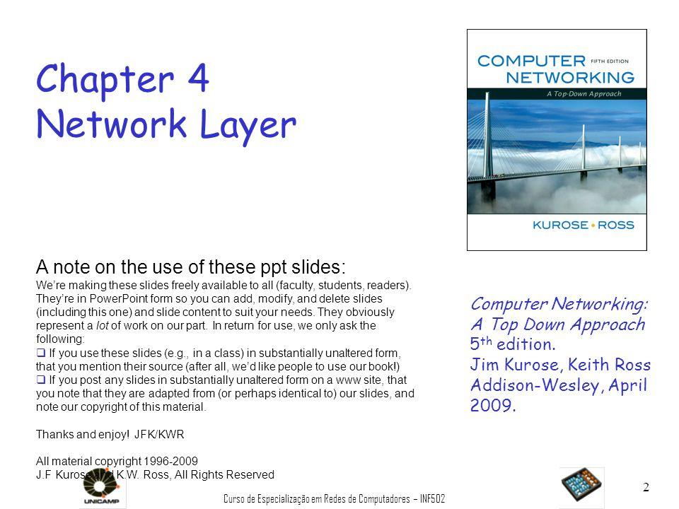 Curso de Especialização em Redes de Computadores – INF502 43 Endereços IP 0 rede estação 10 rede estação 110 redeestação 1110 endereço multiponto A B C D classe 1.0.0.0 to 127.255.255.255 128.0.0.0 to 191.255.255.255 192.0.0.0 to 223.255.255.255 224.0.0.0 to 239.255.255.255 32 bits dada a noção de rede, vamos reexaminar endereços IP: endereçamento baseado em classes: