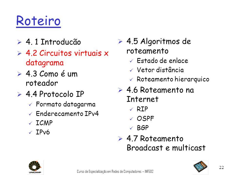 Curso de Especialização em Redes de Computadores – INF502 22 Roteiro Ø 4. 1 Introducão Ø 4.2 Circuitos virtuais x datagrama Ø 4.3 Como é um roteador Ø