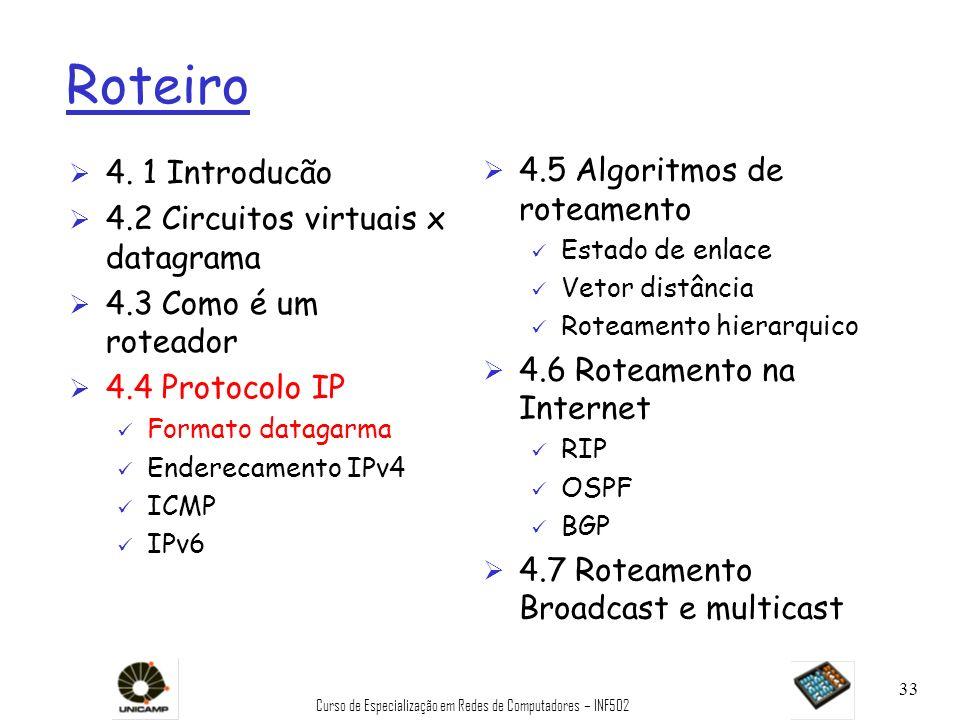 Curso de Especialização em Redes de Computadores – INF502 33 Roteiro Ø 4. 1 Introducão Ø 4.2 Circuitos virtuais x datagrama Ø 4.3 Como é um roteador Ø