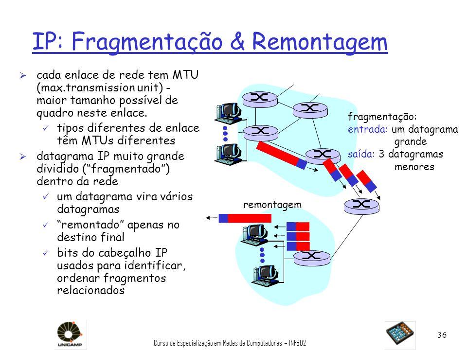 Curso de Especialização em Redes de Computadores – INF502 36 IP: Fragmentação & Remontagem Ø cada enlace de rede tem MTU (max.transmission unit) - mai