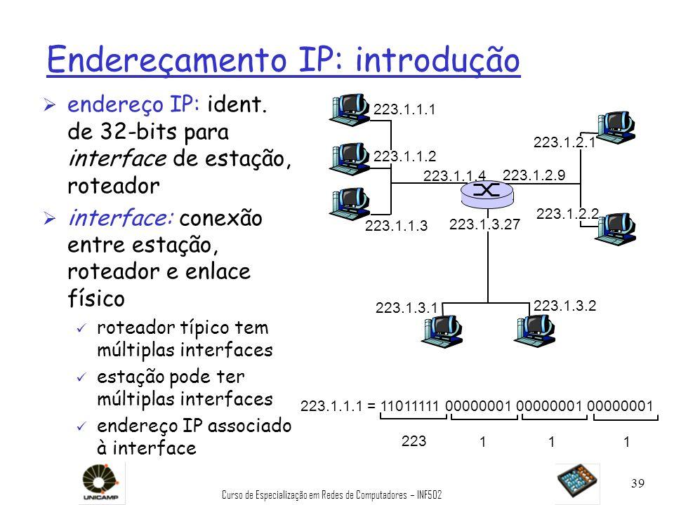 Curso de Especialização em Redes de Computadores – INF502 39 Endereçamento IP: introdução Ø endereço IP: ident. de 32-bits para interface de estação,