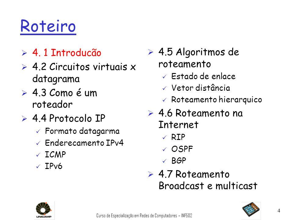 Curso de Especialização em Redes de Computadores – INF502 105 RIP: exemplo de tabela de rotas (cont) Router: giroflee.eurocom.fr Ø Três redes vizinhas diretas da classe C (LANs) Ø Roteador apenas sabe das rotas às LANs vizinhas Ø Roteador default usado para subir Ø Rota de endereço multiponto: 224.0.0.0 Ø Interface loopback (para depuração) Destination Gateway Flags Ref Use Interface -------------------- -------------------- ----- ----- ------ --------- 127.0.0.1 127.0.0.1 UH 0 26492 lo0 192.168.2.