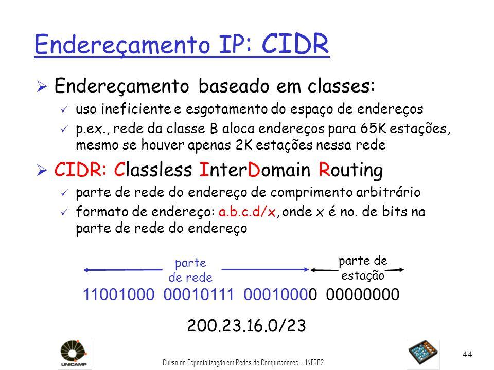 Curso de Especialização em Redes de Computadores – INF502 44 parte de estação Endereçamento IP : CIDR Ø Endereçamento baseado em classes: ü uso inefic
