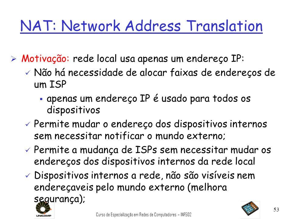 Curso de Especialização em Redes de Computadores – INF502 53 NAT: Network Address Translation Ø Motivação: rede local usa apenas um endereço IP: ü Não