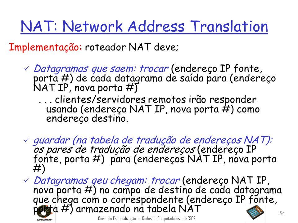 Curso de Especialização em Redes de Computadores – INF502 54 NAT: Network Address Translation Implementação: roteador NAT deve; ü Datagramas que saem: