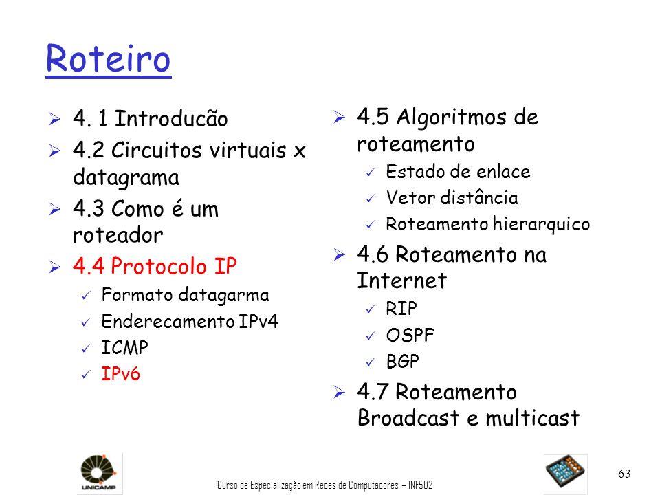 Curso de Especialização em Redes de Computadores – INF502 63 Roteiro Ø 4. 1 Introducão Ø 4.2 Circuitos virtuais x datagrama Ø 4.3 Como é um roteador Ø