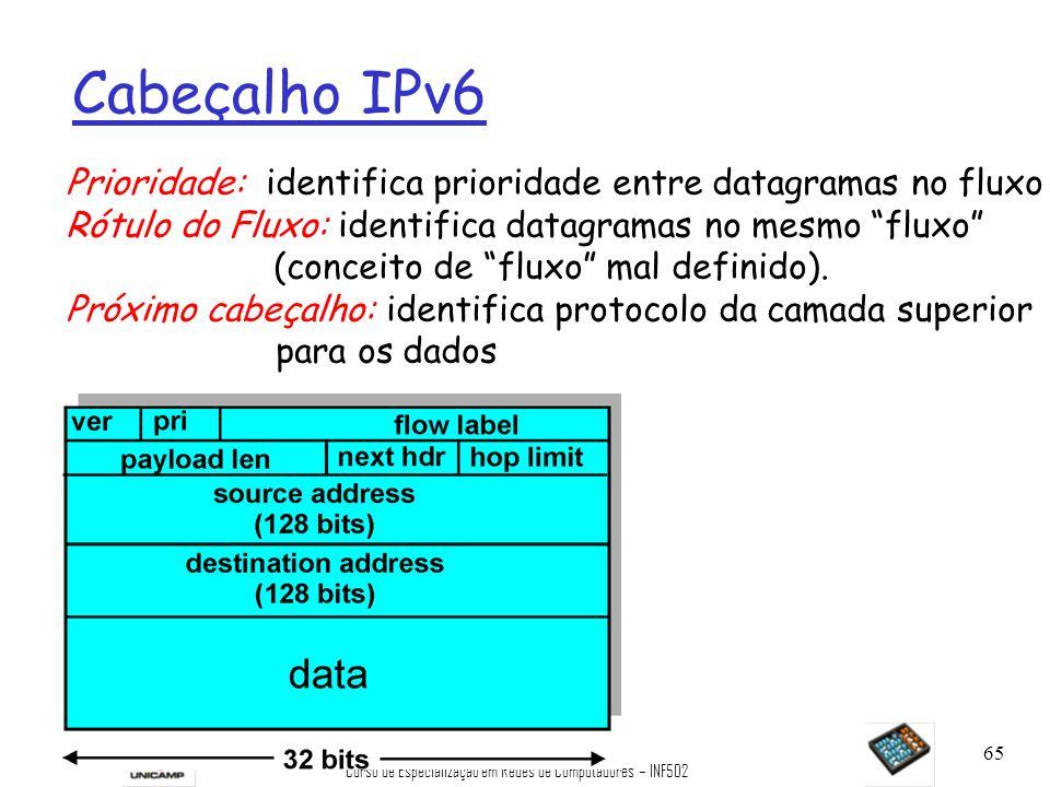 Curso de Especialização em Redes de Computadores – INF502 65 Cabeçalho IPv6 Prioridade: identifica prioridade entre datagramas no fluxo Rótulo do Flux