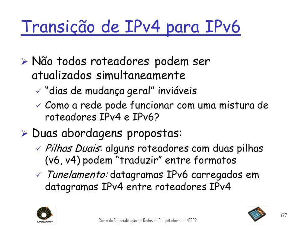 Curso de Especialização em Redes de Computadores – INF502 67 Transição de IPv4 para IPv6 Ø Não todos roteadores podem ser atualizados simultaneamente