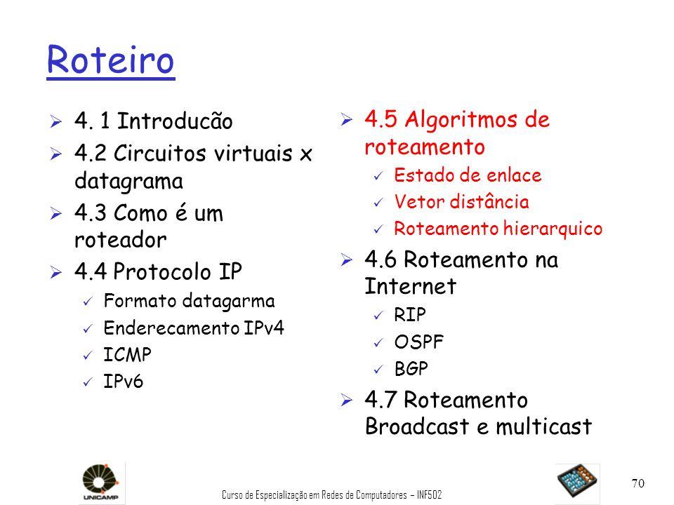 Curso de Especialização em Redes de Computadores – INF502 70 Roteiro Ø 4. 1 Introducão Ø 4.2 Circuitos virtuais x datagrama Ø 4.3 Como é um roteador Ø