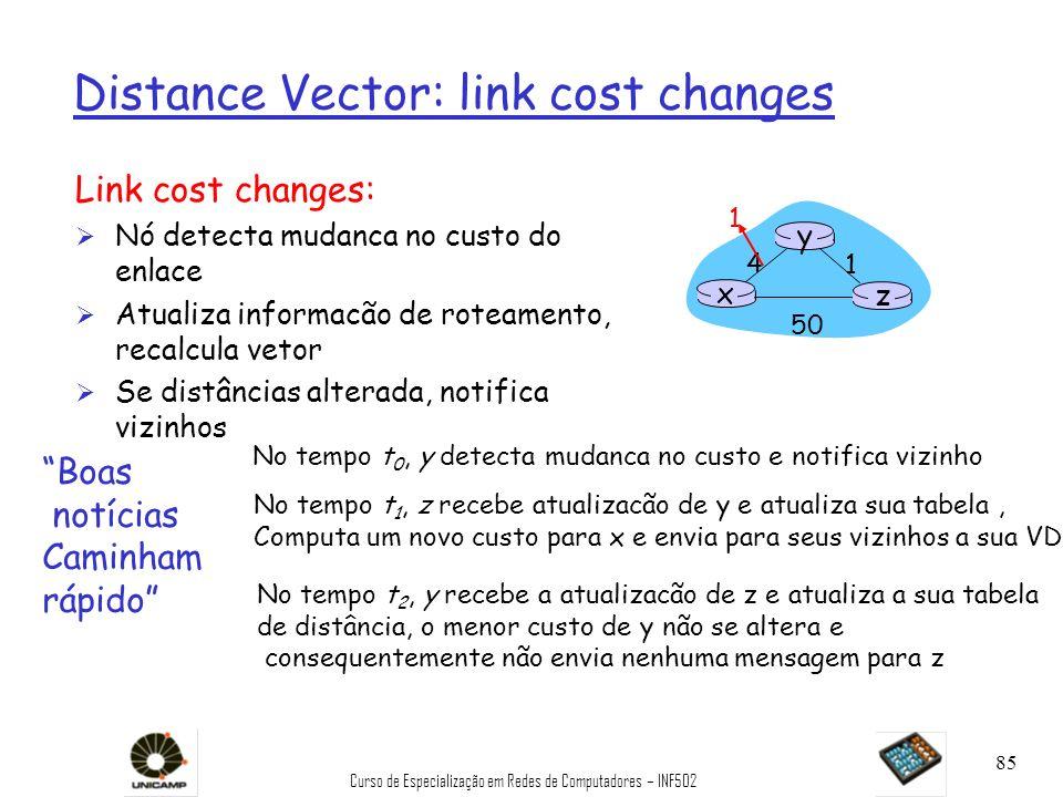 Curso de Especialização em Redes de Computadores – INF502 85 Distance Vector: link cost changes Link cost changes: Ø Nó detecta mudanca no custo do en