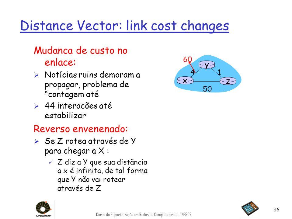 Curso de Especialização em Redes de Computadores – INF502 86 Distance Vector: link cost changes Mudanca de custo no enlace: Ø Notícias ruins demoram a