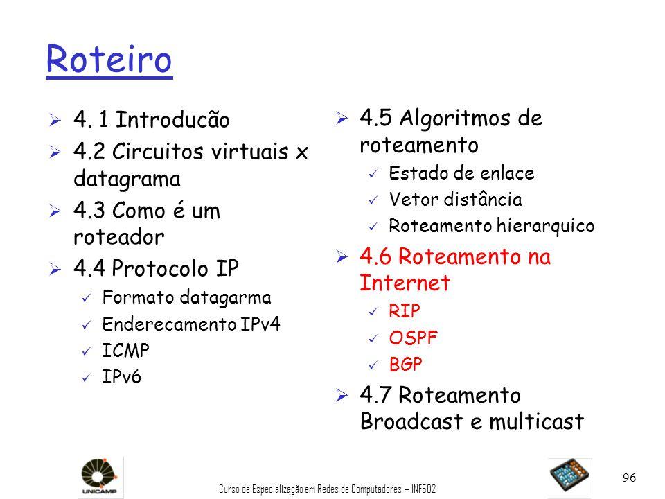 Curso de Especialização em Redes de Computadores – INF502 96 Roteiro Ø 4. 1 Introducão Ø 4.2 Circuitos virtuais x datagrama Ø 4.3 Como é um roteador Ø