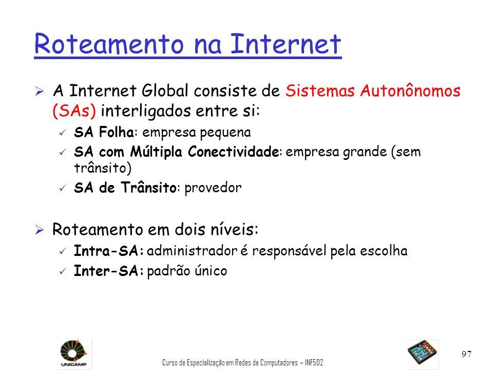 Curso de Especialização em Redes de Computadores – INF502 97 Roteamento na Internet Ø A Internet Global consiste de Sistemas Autonônomos (SAs) interli