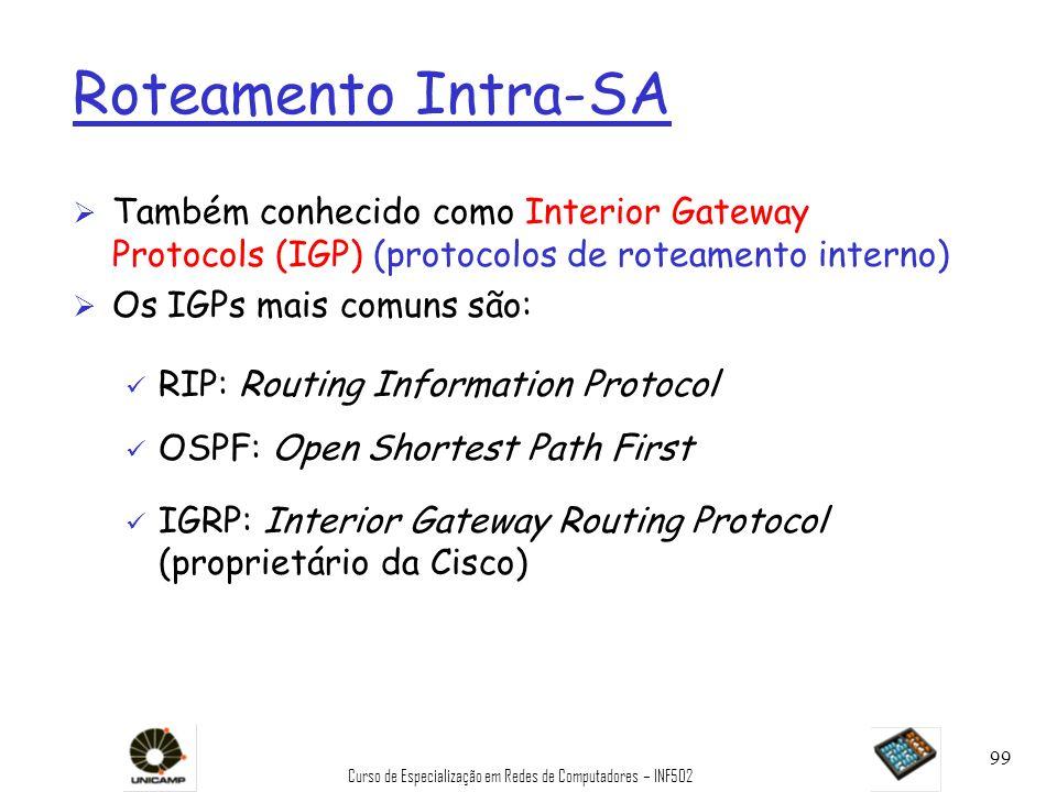Curso de Especialização em Redes de Computadores – INF502 99 Roteamento Intra-SA Ø Também conhecido como Interior Gateway Protocols (IGP) (protocolos
