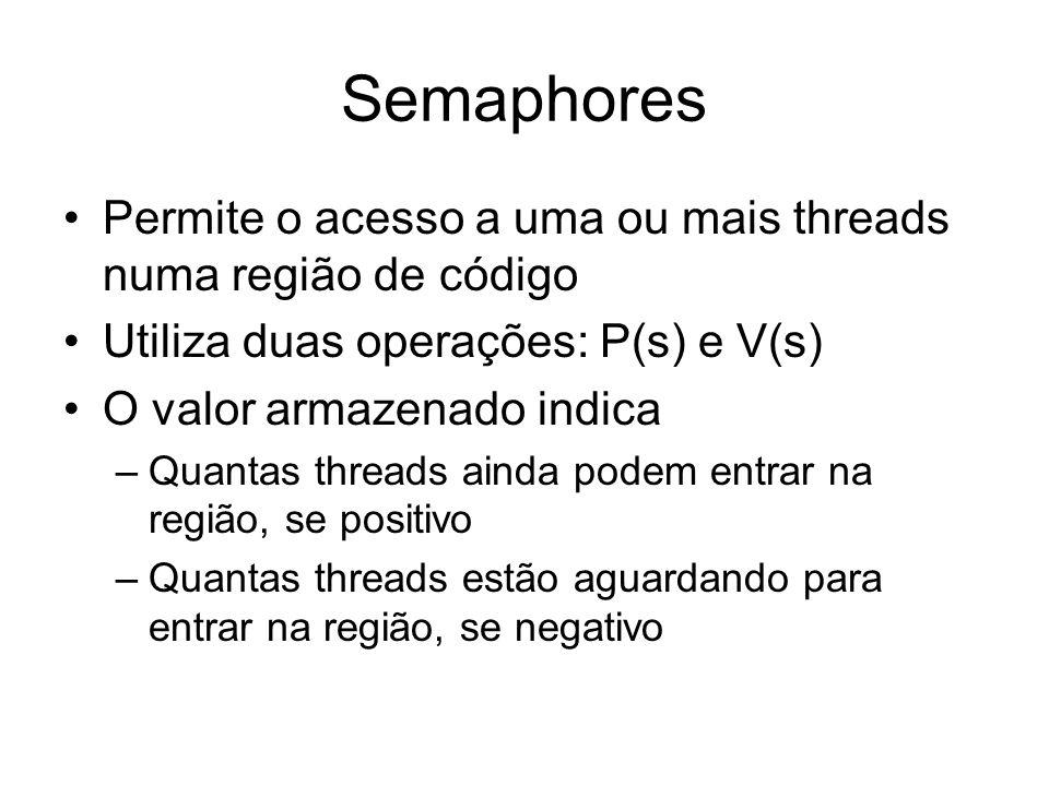 Semaphores Permite o acesso a uma ou mais threads numa região de código Utiliza duas operações: P(s) e V(s) O valor armazenado indica –Quantas threads
