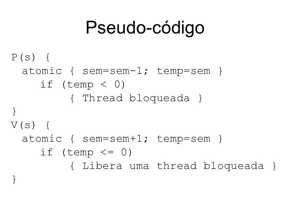 Pseudo-código P(s) { atomic { sem=sem-1; temp=sem } if (temp < 0) { Thread bloqueada } } V(s) { atomic { sem=sem+1; temp=sem } if (temp <= 0) { Libera