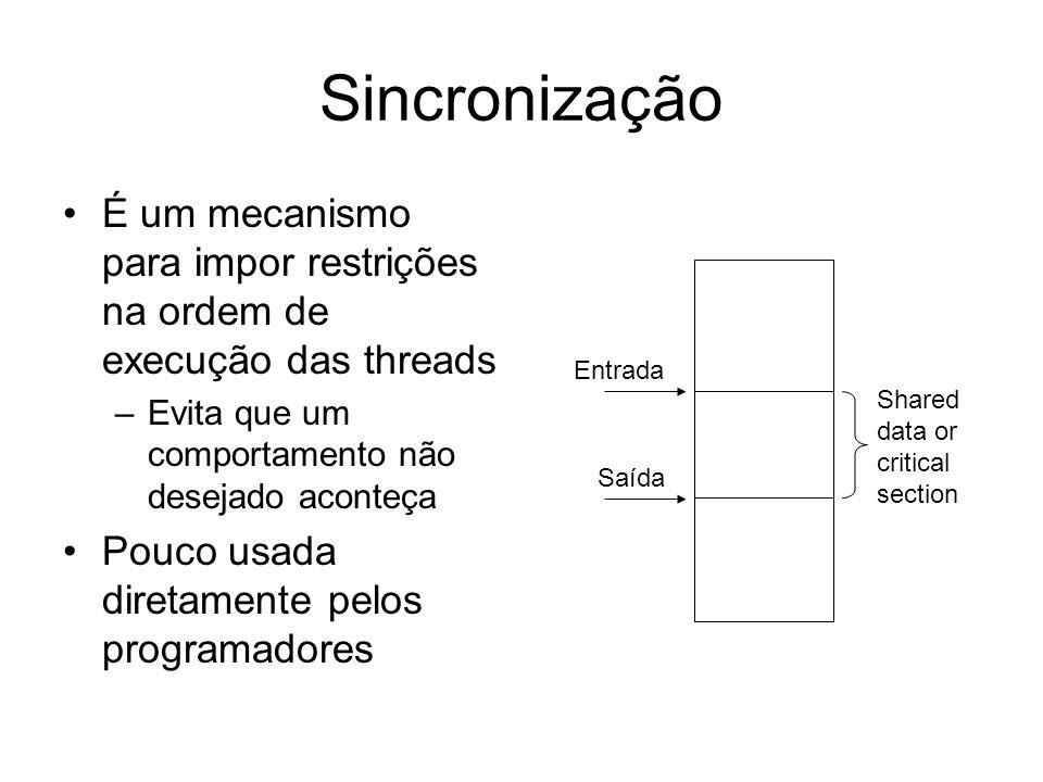 Sincronização É um mecanismo para impor restrições na ordem de execução das threads –Evita que um comportamento não desejado aconteça Pouco usada dire