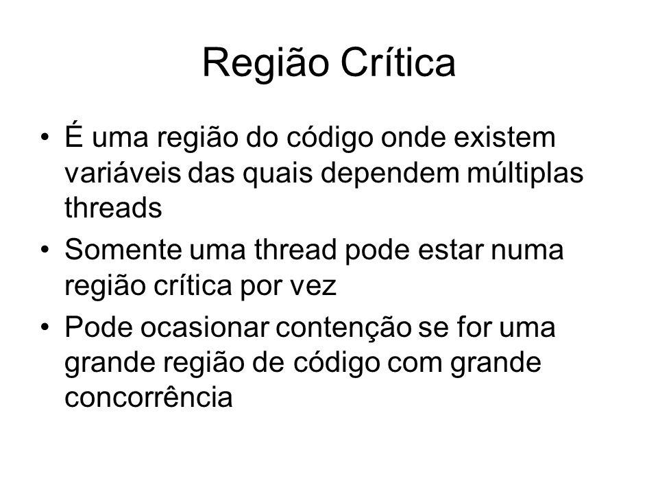 Região Crítica É uma região do código onde existem variáveis das quais dependem múltiplas threads Somente uma thread pode estar numa região crítica po
