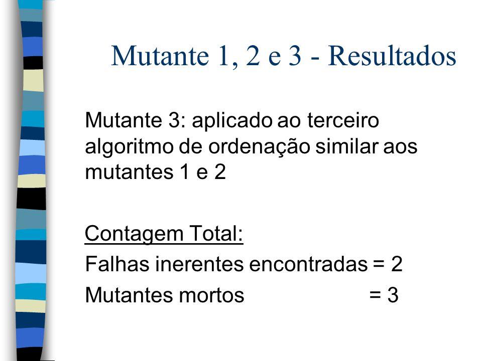 Mutante 1, 2 e 3 - Resultados Mutante 3: aplicado ao terceiro algoritmo de ordenação similar aos mutantes 1 e 2 Contagem Total: Falhas inerentes encon