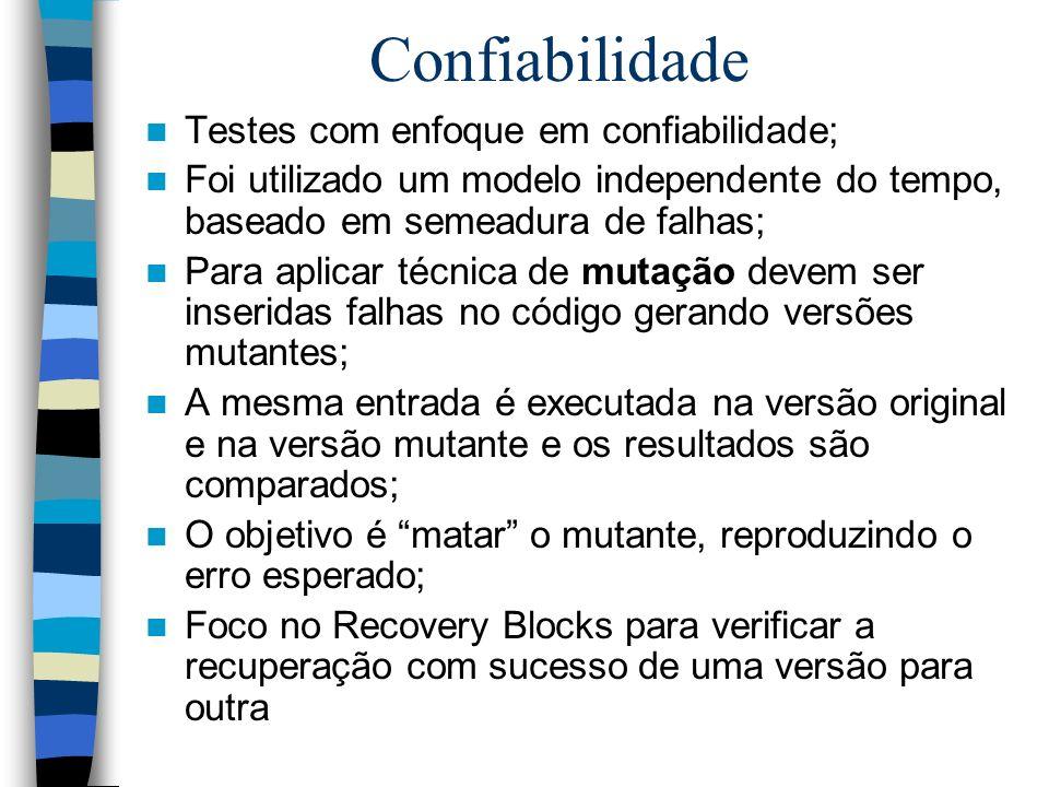 Confiabilidade Testes com enfoque em confiabilidade; Foi utilizado um modelo independente do tempo, baseado em semeadura de falhas; Para aplicar técni