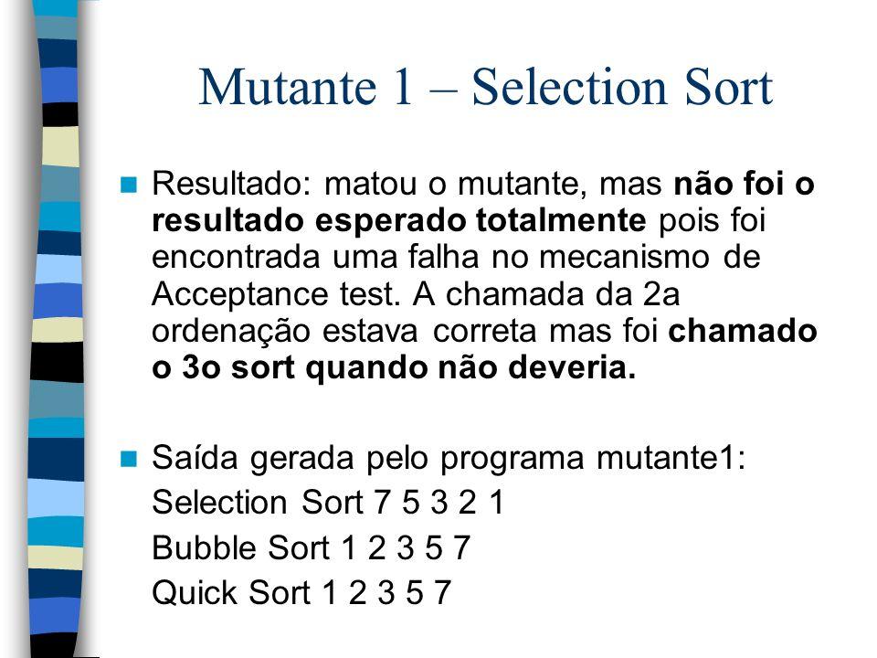 Mutante 1 – Selection Sort Resultado: matou o mutante, mas não foi o resultado esperado totalmente pois foi encontrada uma falha no mecanismo de Accep