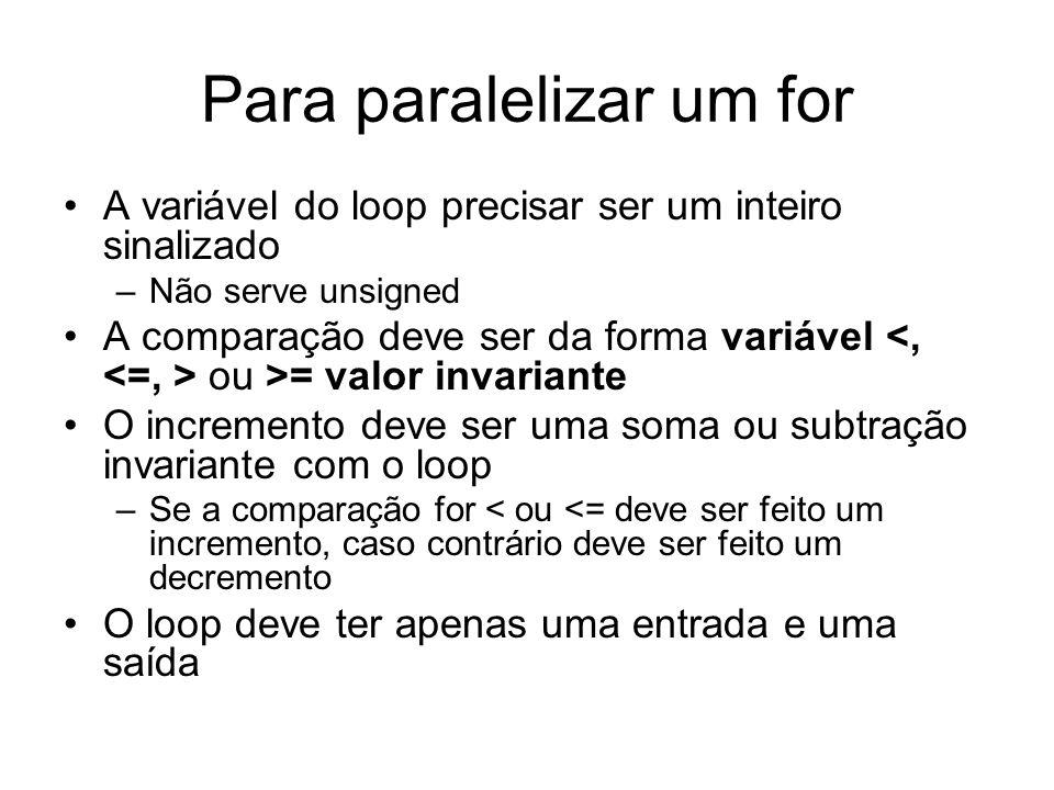 Para paralelizar um for A variável do loop precisar ser um inteiro sinalizado –Não serve unsigned A comparação deve ser da forma variável ou >= valor