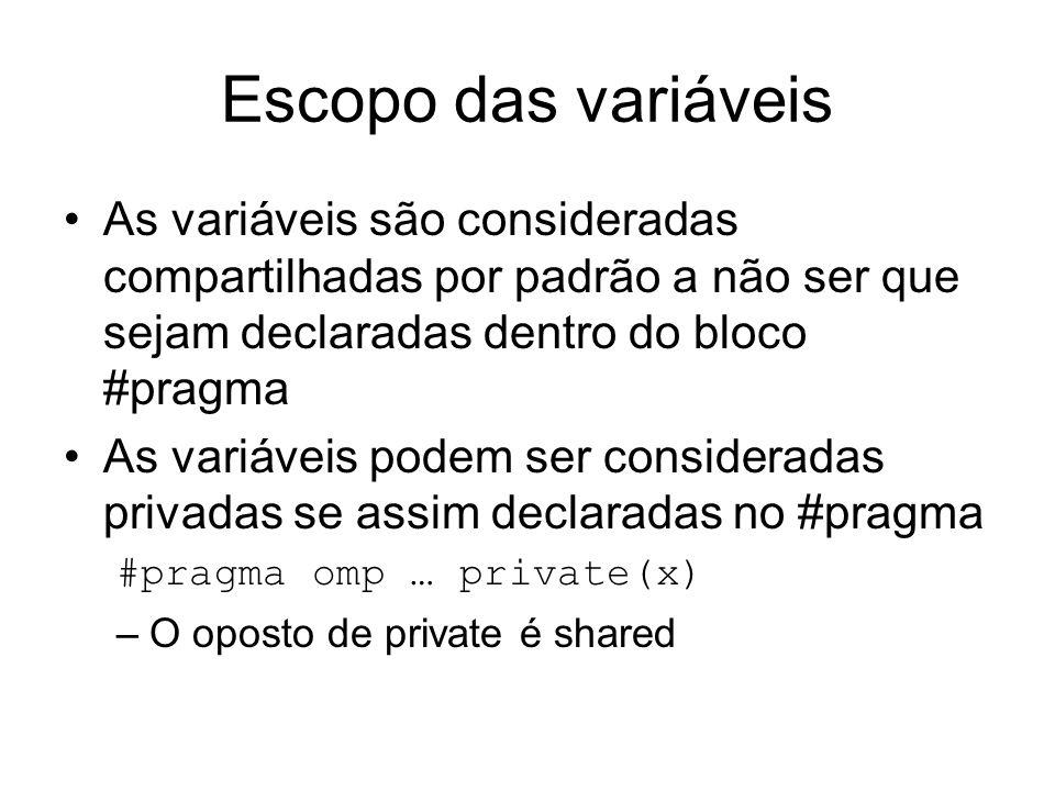 Escopo das variáveis As variáveis são consideradas compartilhadas por padrão a não ser que sejam declaradas dentro do bloco #pragma As variáveis podem