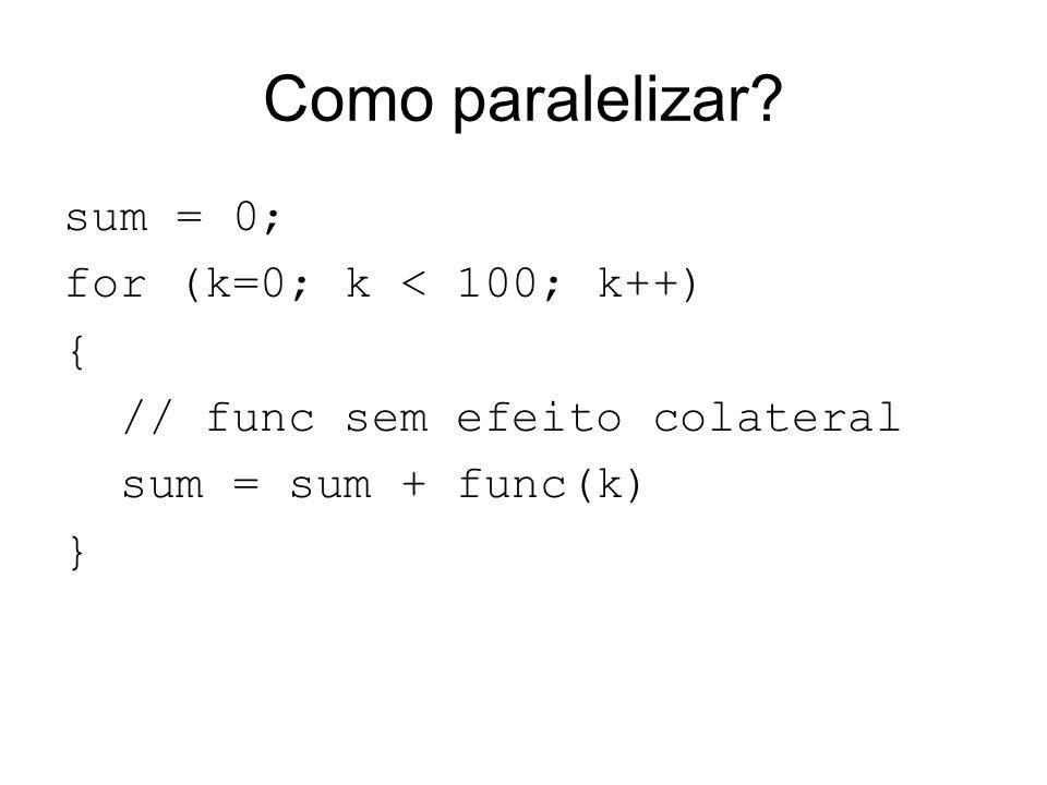 Como paralelizar? sum = 0; for (k=0; k < 100; k++) { // func sem efeito colateral sum = sum + func(k) }