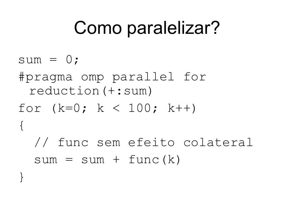 Como paralelizar? sum = 0; #pragma omp parallel for reduction(+:sum) for (k=0; k < 100; k++) { // func sem efeito colateral sum = sum + func(k) }