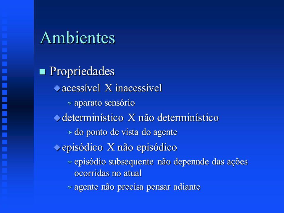 Ambientes n Propriedades u acessível X inacessível F aparato sensório u determinístico X não determinístico F do ponto de vista do agente u episódico