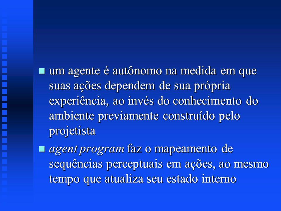 n um agente é autônomo na medida em que suas ações dependem de sua própria experiência, ao invés do conhecimento do ambiente previamente construído pe