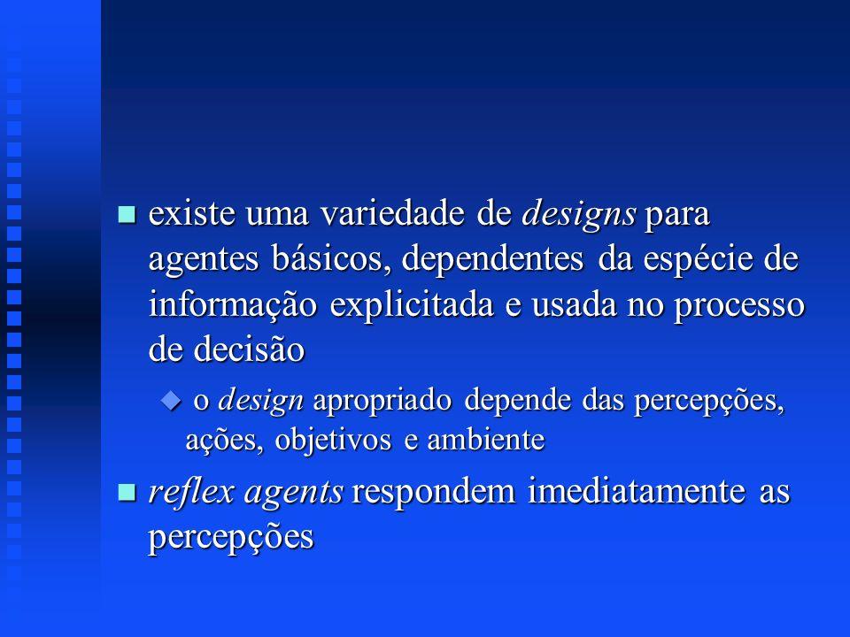 n existe uma variedade de designs para agentes básicos, dependentes da espécie de informação explicitada e usada no processo de decisão u o design apr