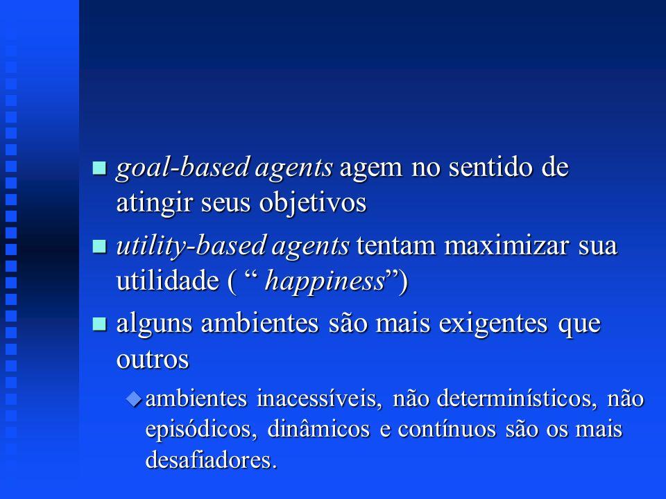 n goal-based agents agem no sentido de atingir seus objetivos n utility-based agents tentam maximizar sua utilidade ( happiness) n alguns ambientes sã