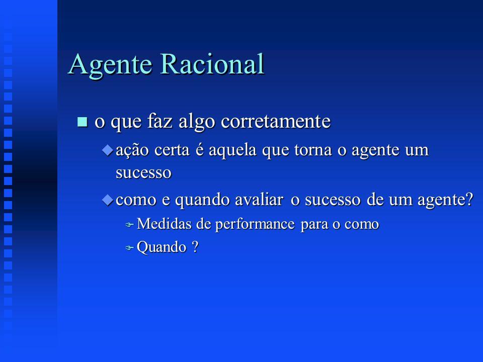Agente Racional n o que faz algo corretamente u ação certa é aquela que torna o agente um sucesso u como e quando avaliar o sucesso de um agente? F Me