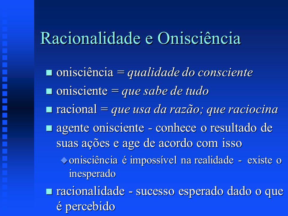 Racionalidade e Onisciência n onisciência = qualidade do consciente n onisciente = que sabe de tudo n racional = que usa da razão; que raciocina n age