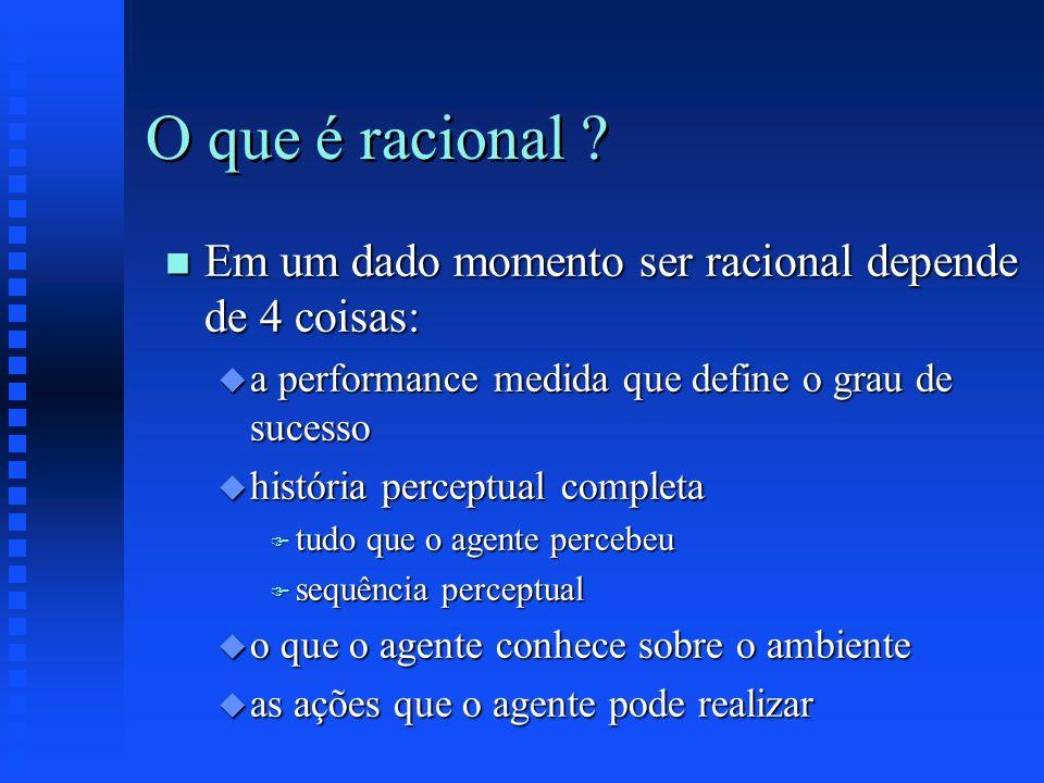 O que é racional ? n Em um dado momento ser racional depende de 4 coisas: u a performance medida que define o grau de sucesso u história perceptual co