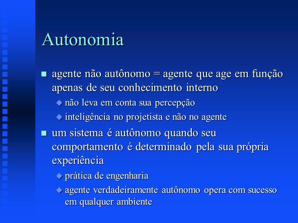 Autonomia n agente não autônomo = agente que age em função apenas de seu conhecimento interno u não leva em conta sua percepção u inteligência no proj