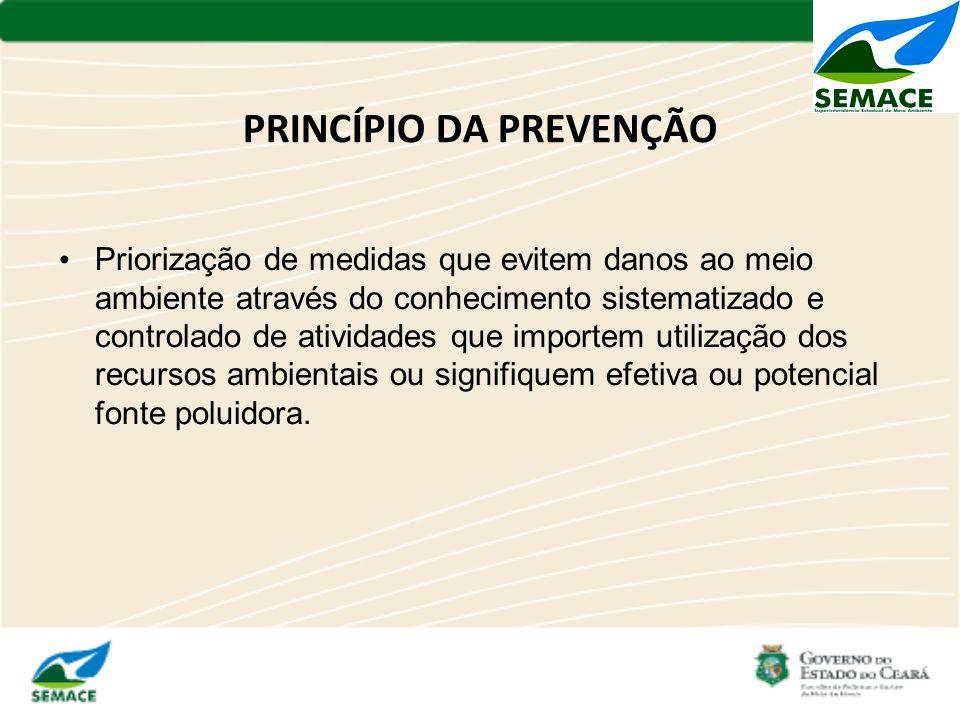 PRINCÍPIO DA PREVENÇÃO Priorização de medidas que evitem danos ao meio ambiente através do conhecimento sistematizado e controlado de atividades que i