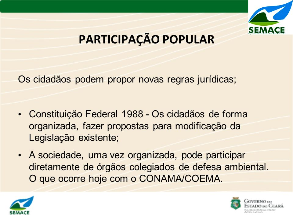 PARTICIPAÇÃO POPULAR Os cidadãos podem propor novas regras jurídicas; Constituição Federal 1988 - Os cidadãos de forma organizada, fazer propostas par