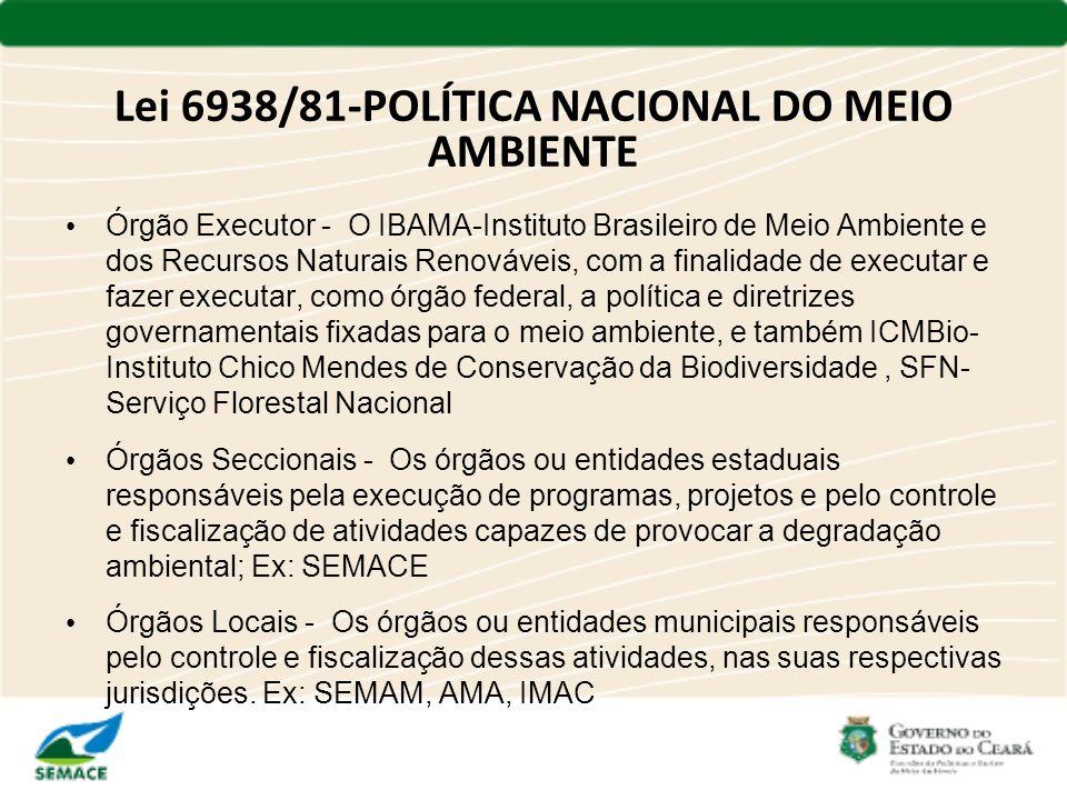 Lei 6938/81-POLÍTICA NACIONAL DO MEIO AMBIENTE Órgão Executor - O IBAMA-Instituto Brasileiro de Meio Ambiente e dos Recursos Naturais Renováveis, com
